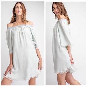 Dresses & Skirts - MEL DISTRESSED OFF THE SHOULDER WASHED DENIM DRESS